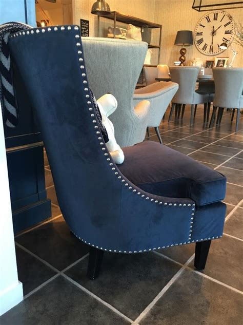 blue fabric sofa chair  silver studs mulberry moon
