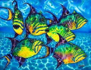 Trigger Fish - Caribbean Sea Painting by Daniel Jean-Baptiste