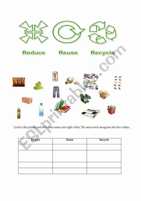 reduce reuse recycle worksheet dzofar printable