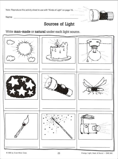 light sources worksheets for grade 1 scienceworks energy light heat sound 007179