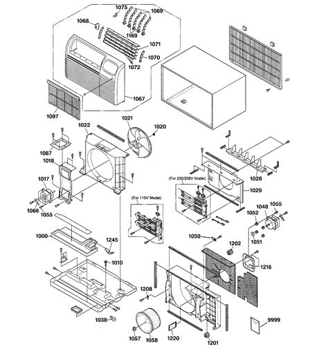 cabinet components diagram parts list for ajch12dcam1 ge parts room air conditioner