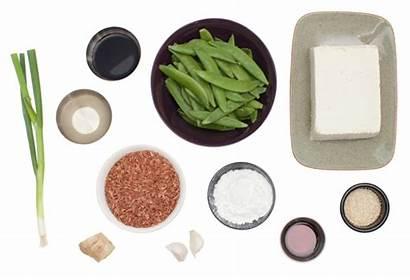 Tofu Peas Seared Snow Sesame Rice Pink