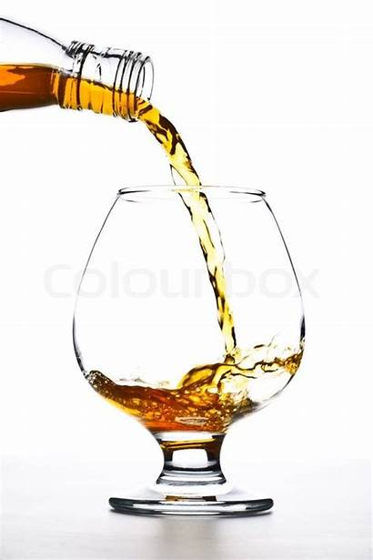 Glass Pour Cognac Into Background Colourbox