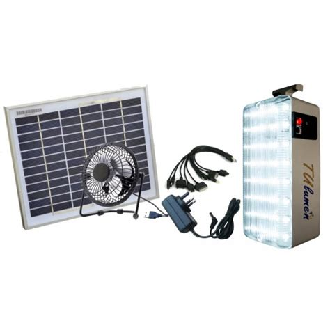 solar led emergency light with mobile charger and fan