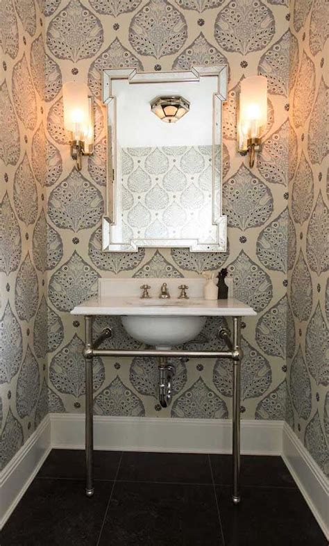 classically casual small bathroom wallpaper glamorous
