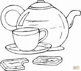 Coloring Teapot Printable Tea Cup Popular sketch template