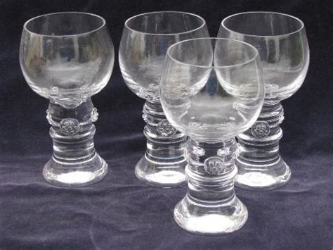 Four Handblown Crystal Water Glasses, Country French Or