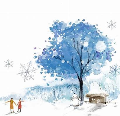 Watercolor Snow Winter Paint Sky Branch Freepngimg