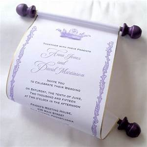 royal wedding invitation paper scroll invitation crown With purple and gold wedding invitations set