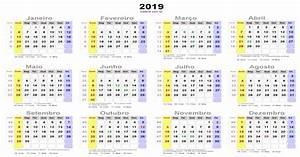 Calendário 2019 com feriados nacionais – Brasil – Download