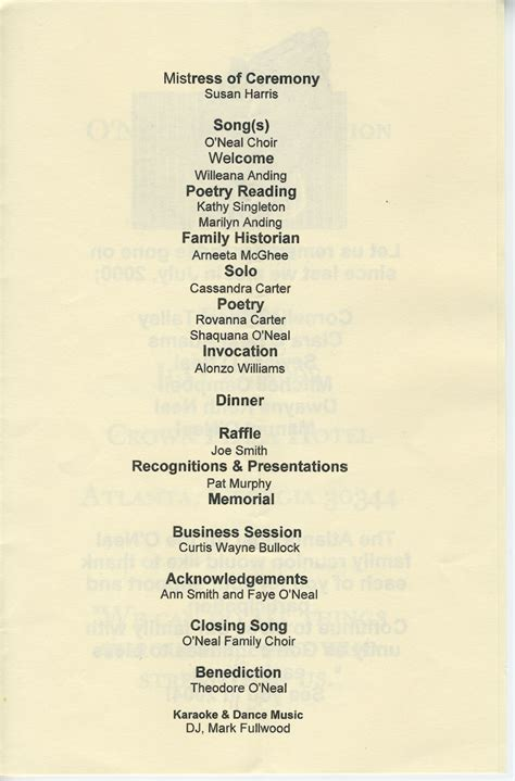 Previous O'neal Family Reunion Banquet Programs  O' Neal. Summer Party Invitation Template. Cover Letter Format Template. Poster Layout Ideas. Free Photography Contract Template. Wedding Name Cards Template. College Graduation Announcements Templates. Request For Bid Template. Free Truck Driver Application Template
