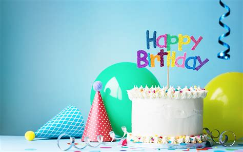 wallpaper happy birthday cake hat balloon ribbon