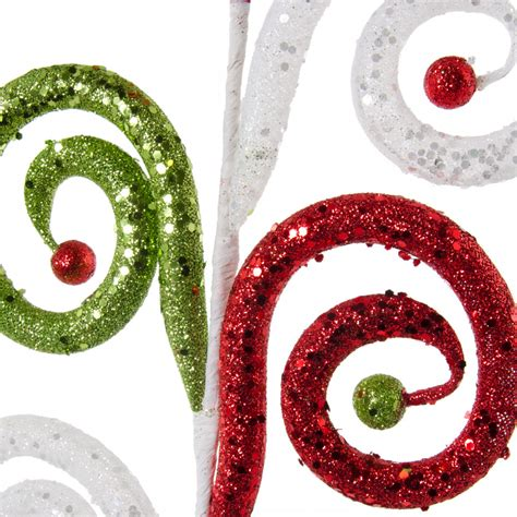 26 quot large glitter curl christmas spray red lime green