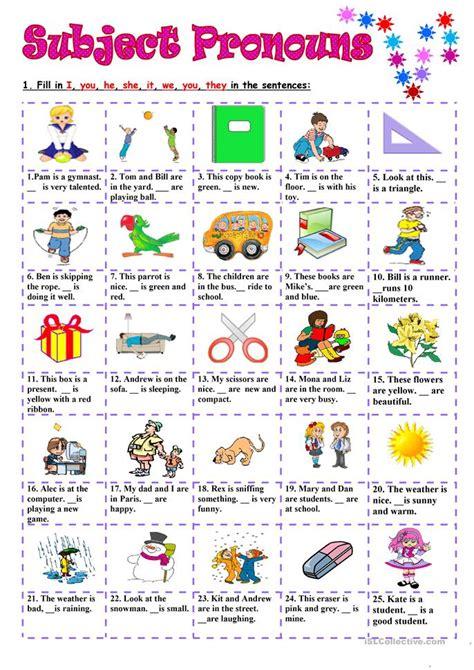 66 free esl subject pronouns worksheets
