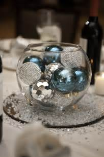 glass bowl with ornaments centerpiece my wedding