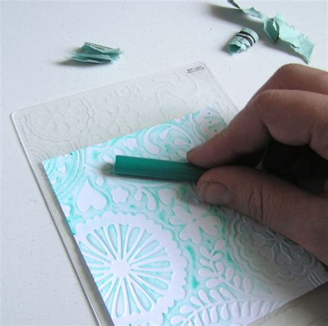 rubwithcrayonjpg  messy  inking  embossing folder cardmaking techniques