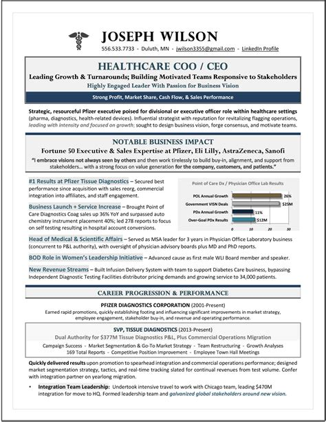 Suffering from a resume headache? Award-Winning CEO / COO Healthcare Resume; Best Healthcare ...