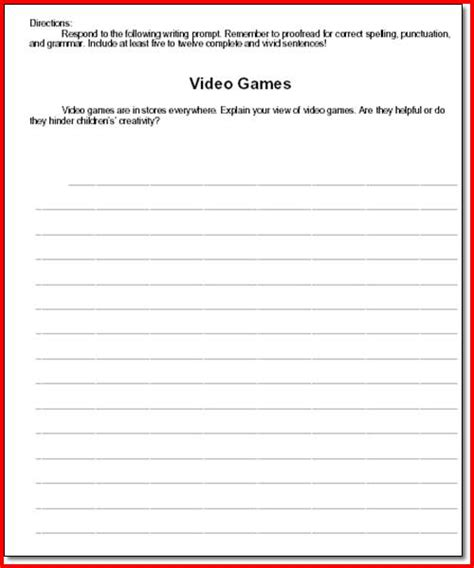 writing activities for middle school printable