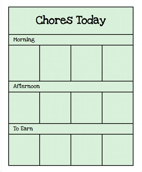 chore chat template 14 free documents in word pdf 749 | Preschool Chore chart Card1