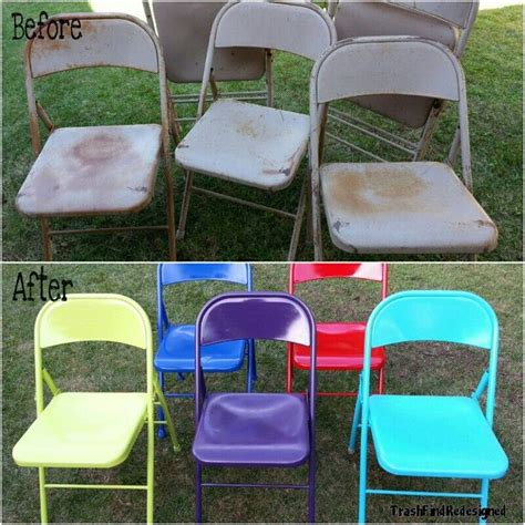 Painted Metal Folding Chairs Great Idea!  Crafty Diy