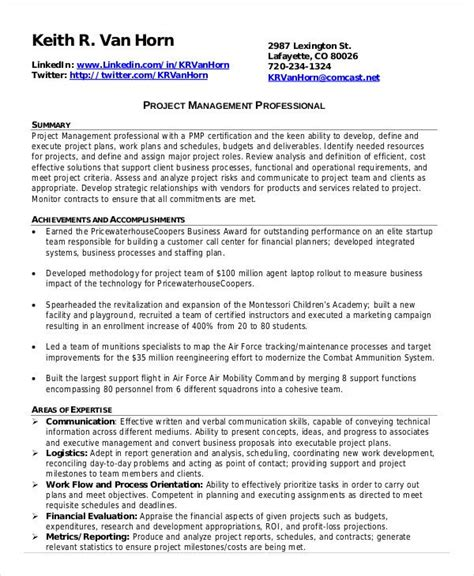 project management resume    word