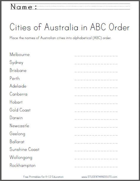 australian cities in abc order worksheet student handouts