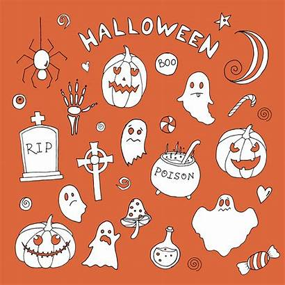 Halloween Elements Vector Patterns Drawn Hand Ii