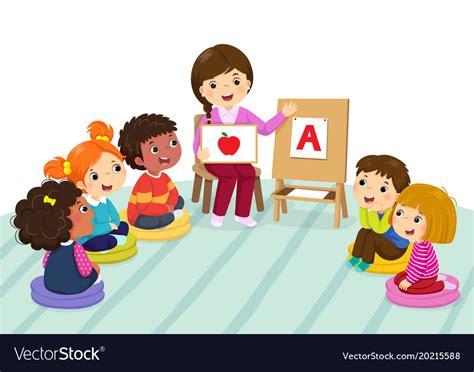 preschool and sitting on the floor vector image 547 | preschool kids and teacher sitting on the floor vector 20215588