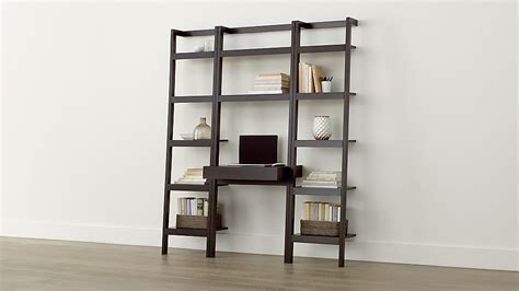 Leaning Desk Bookcase by Sawyer Mocha Leaning Desk With Two 18 Quot Bookcases Crate