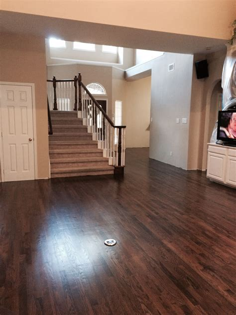 dark walnut stain on white oak hardwood   remodel (1