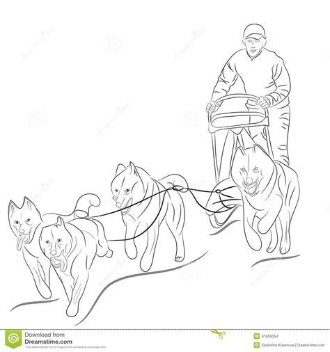 Hand drawn illustration of dogs pulling a sled | Iditarod ...