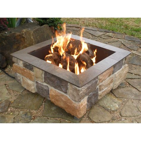 Firescapes Smooth Ledge Square Natural Gas Fire Pit