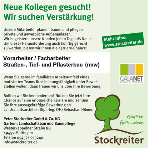 Stolze Garten Und Landschaftsbau Gmbh Osnabrück by Neue Kollegen Gesucht Stockreiter Garten