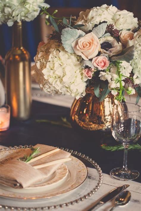20 a navy table runner blush roses and gold touches for a