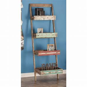 18 In L X 23 In W Rustic Distressed Wood 5 Tier Leaning