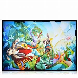 Tableau Moderne Coloré : peinture douanier rousseau jungle tableau moderne color ~ Teatrodelosmanantiales.com Idées de Décoration