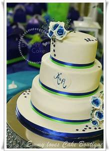 White, Royal Blue And Lime Green Details On The Wedding ...