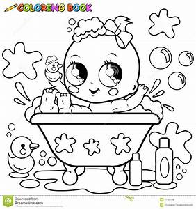 Baby Girl Taking A Bath Coloring Page Stock Vector Image
