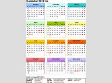 Free UK 2019 Calendar PDF, Excel, Word Templates