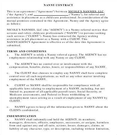nanny contract template 10 sle nanny contract templates free sle exle format free premium templates