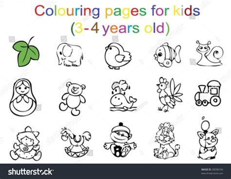 colouring pages  kids   years  stock vector