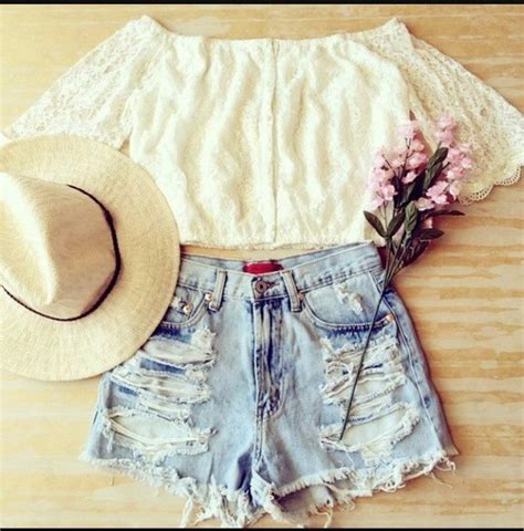 Blouse: crop tops, white top, jeans, ripped shorts, white