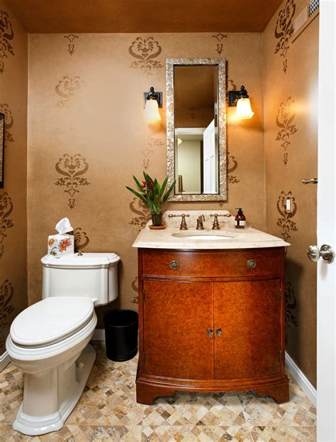 stenciling walls ideas powder room contemporary  framed mirror  bath gold wall