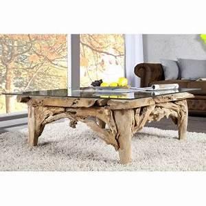 Table Basse En Bois Flotté : table basse design en bois flott avec plateau en verre ~ Preciouscoupons.com Idées de Décoration