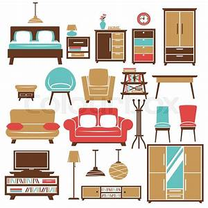 Home furniture and room interior accessories. Vector flat ...
