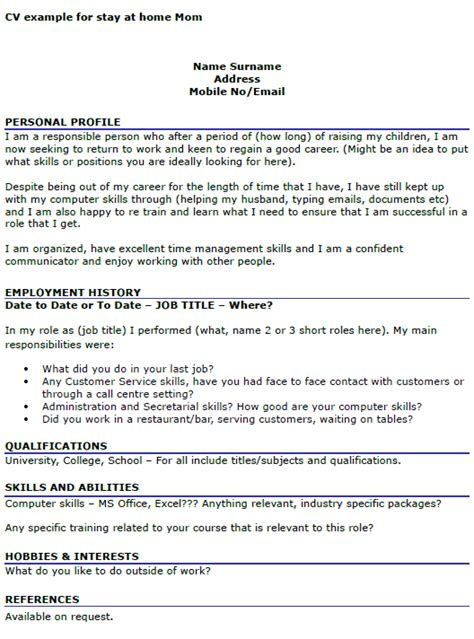 Resume Objective For Stay At Home by Cv Exle For Stay At Home Resume Resume Exles