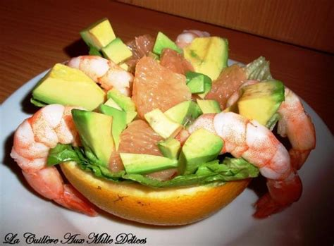 recette salade de pamplemousse avocat  crevettes