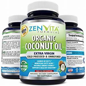 Organic Coconut Oil Capsules 1000 Mg  U2013 180 Softgels  Coconut Oil Pills Made With Certified