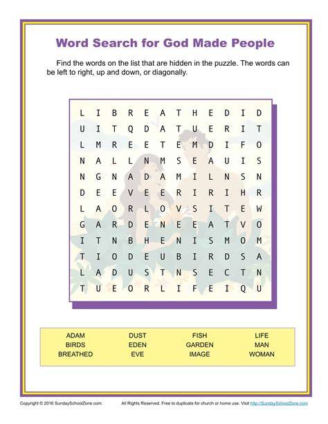 god  people word search childrens bible activities