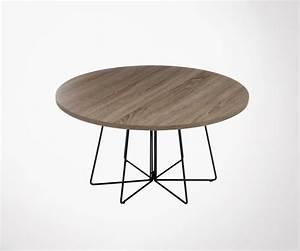Table Basse Ronde Bois Metal : table basse ronde bois et m tal 80cm style industriel marque j line ~ Teatrodelosmanantiales.com Idées de Décoration